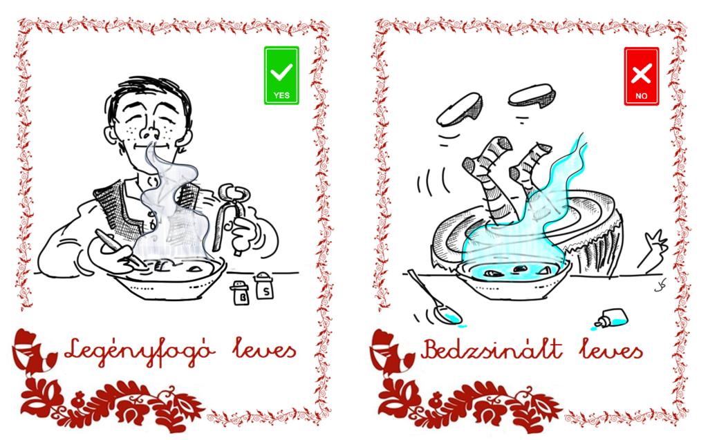 Gina karíkatúra: Legényfogó és bedzsinált leves