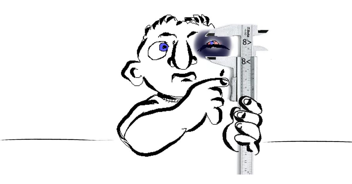 Magánindítvány karikatúra - monokli mérése tolómérővel