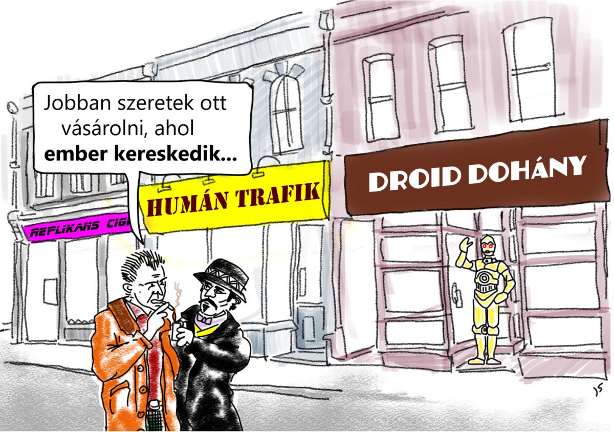emberkereskedelem karikatúra