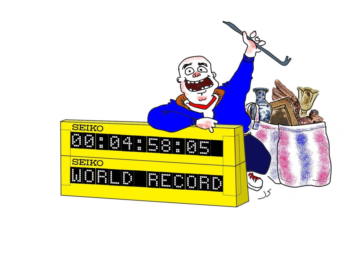 Chuck V. Percre karikatűra (óra rablóval)