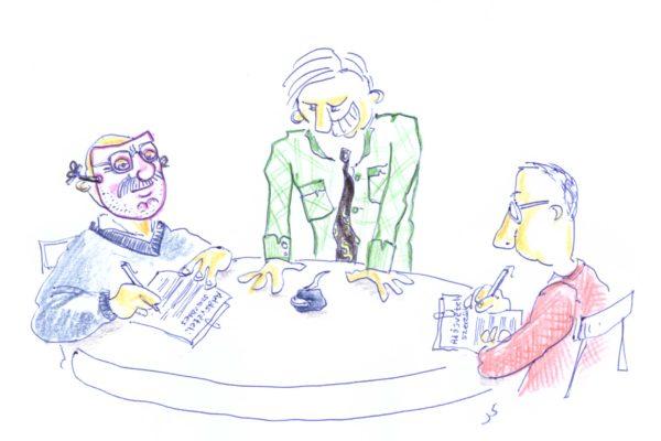Karikatúra: maszkos aláírás